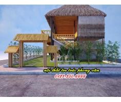 Bản thiết kế 3d nhà tre nhà hàng mái lá